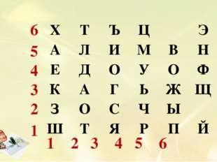 6 5 4 3 2 1 1 2 3 4 5 6 ХТЪЦЭ АЛИМВН ЕДОУОФ КАГЬЖЩ ЗОС