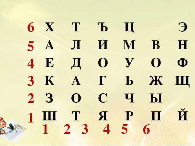 6 5 4 3 2 1 1 2 3 4 5 6 ХТЪЦЭ АЛИМВН ЕДОУОФ КАГЬЖЩ ЗОС...