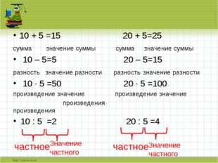10 + 5 =15 20 + 5=25 сумма значение суммы сумма значение суммы 10 – 5=5 20 –