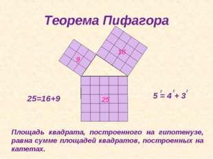 Теорема Пифагора 25=16+9 Площадь квадрата, построенного на гипотенузе, равна