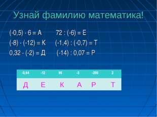 Узнай фамилию математика! (-0,5) · 6 = А 72 : (-6) = Е (-8) · (-12) = К (-1,4