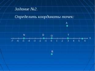 Задание №2. Определить координаты точек: -7 -6 -5 -4 -3 -2 -1 0 1 2 3 4 5 6 Х