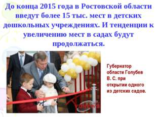 До конца 2015 года в Ростовской области введут более 15 тыс. мест в детских д