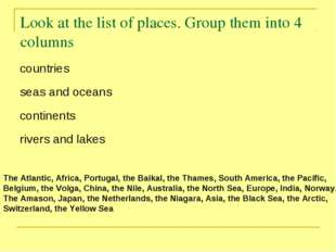 Look at the list of places. Group them into 4 columns The Atlantic, Africa, P