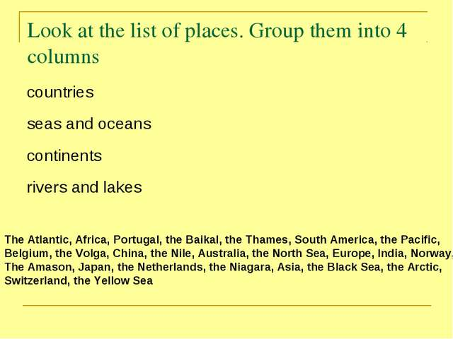 Look at the list of places. Group them into 4 columns The Atlantic, Africa, P...