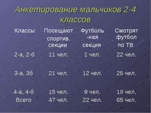 Анкетирование мальчиков 2-4 классов