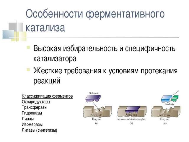 Особенности ферментативного катализа Высокая избирательность и специфичность...