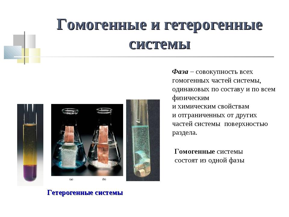 Гомогенные и гетерогенные системы Гетерогенные системы Фаза – совокупность вс...