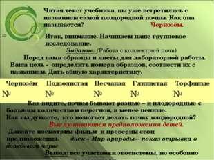 Читая текст учебника, вы уже встретились с названием самой плодородной почвы.