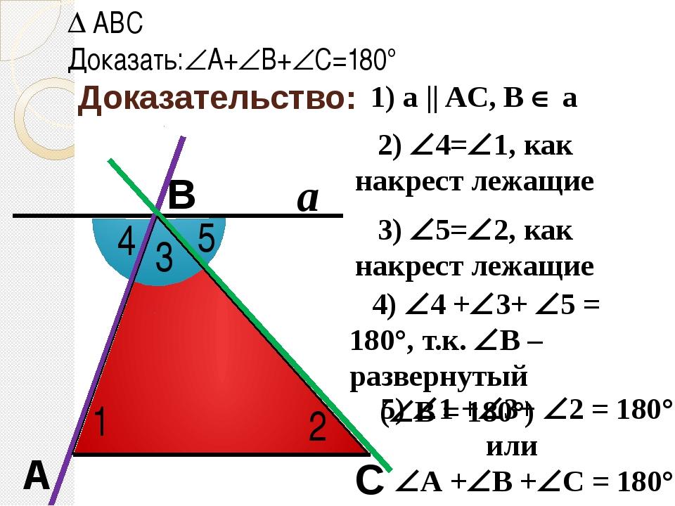 Доказательство: С В А ABC Доказать:А+В+С=180° 1) a || AC, B  a a 1 2 4 5...