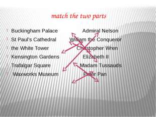 match the two parts Buckingham Palace Admiral Nelson St Paul's Cathedral Will