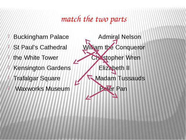 match the two parts Buckingham Palace Admiral Nelson St Paul's Cathedral Will...