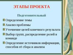 ЭТАПЫ ПРОЕКТА Подготовительный Определение темы Анализ проблемы Уточнение цел