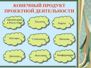 КОНЕЧНЫЙ ПРОДУКТ ПРОЕКТНОЙ ДЕЯТЕЛЬНОСТИ Карты Презентации в Power Point Букле