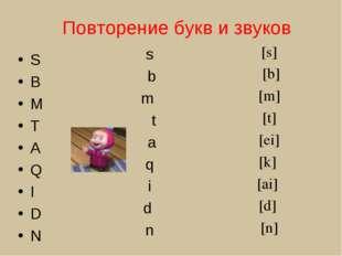 Повторение букв и звуков S B M T A Q I D N s b m t a q i d n [s] [b] [m] [t]