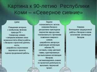 Картина к 90-летию Республики Коми – «Северное сияние» Цели: Повышение интере