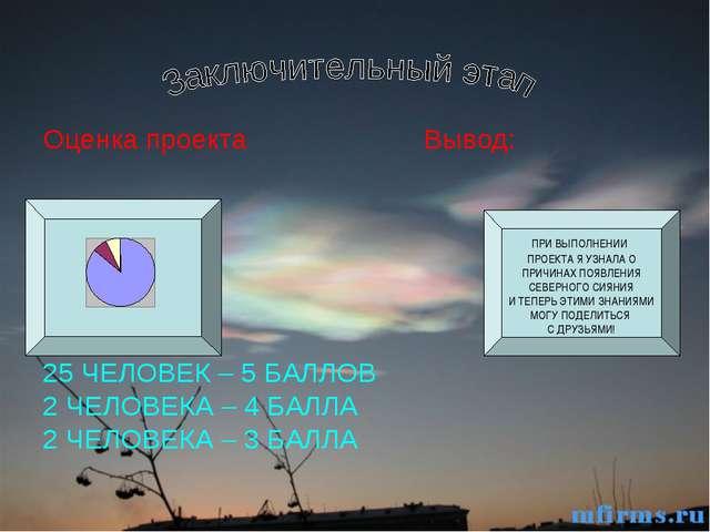 Оценка проекта Вывод: 25 ЧЕЛОВЕК – 5 БАЛЛОВ 2 ЧЕЛОВЕКА – 4 БАЛЛА 2 ЧЕЛОВЕКА –...