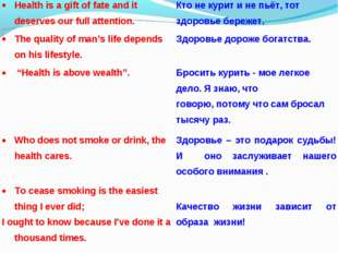 Health is a gift of fate and it deserves our full attention.Кто не курит и н