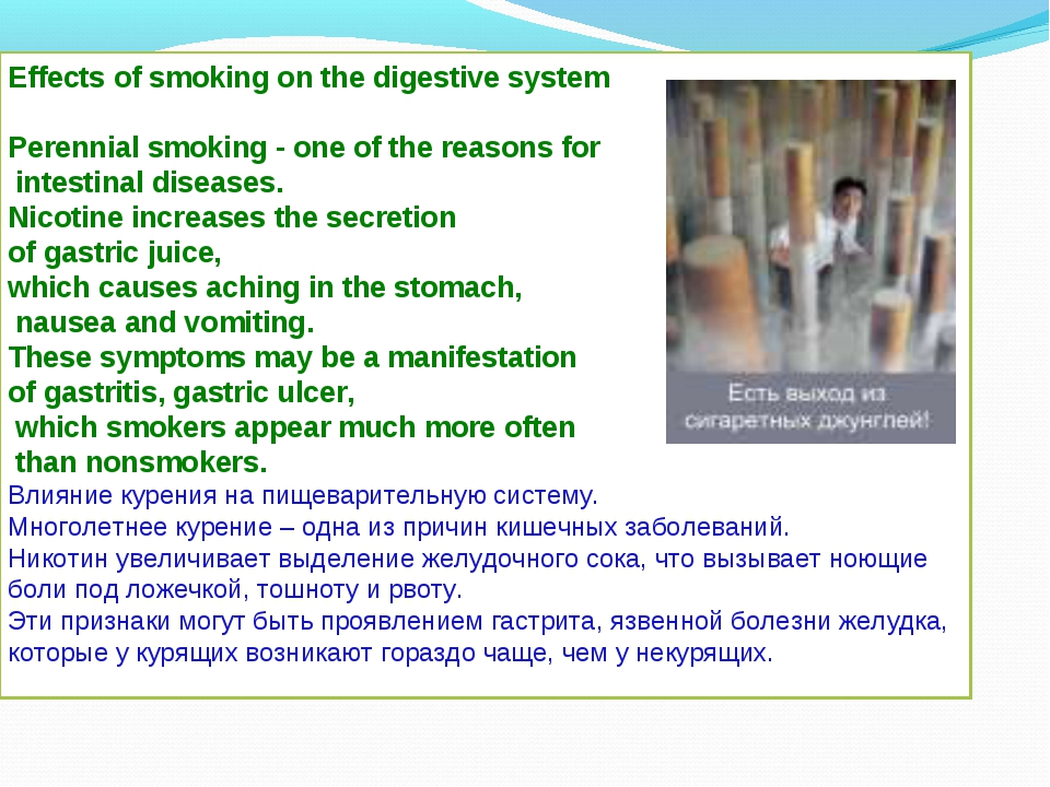 Effects of smoking on the digestive system Perennial smoking - one of the rea...