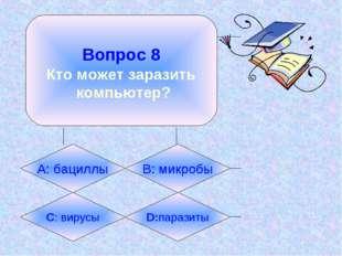 Вопрос 8 Кто может заразить компьютер? А: бациллы B: микробы C: вирусы D:пар