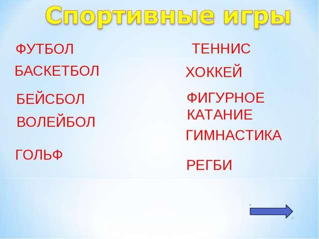 ФУТБОЛ БАСКЕТБОЛ БЕЙСБОЛ ВОЛЕЙБОЛ ГОЛЬФ РЕГБИ ТЕННИС ХОККЕЙ ФИГУРНОЕ КАТАНИЕ...