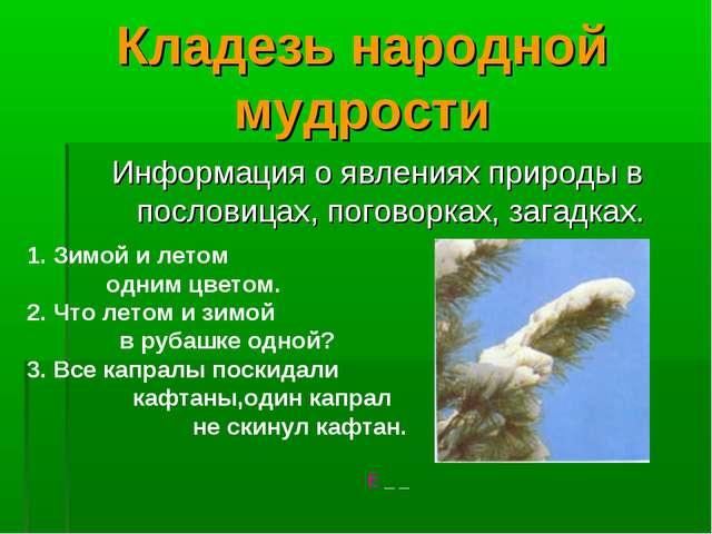 Кладезь народной мудрости Информация о явлениях природы в пословицах, поговор...
