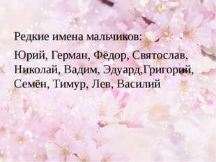 Редкие имена мальчиков: Юрий, Герман, Фёдор, Святослав, Николай, Вадим, Эдуа