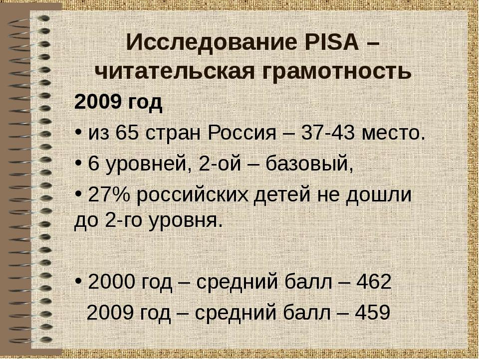 Исследование PISA – читательская грамотность 2009 год из 65 стран Россия – 37...