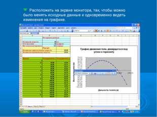Расположить на экране монитора, так, чтобы можно было менять исходные данные