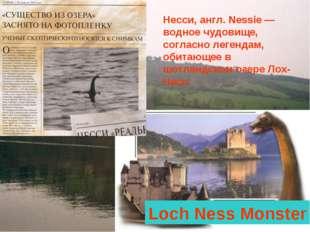 Несси, англ. Nessie — водное чудовище, согласно легендам, обитающее в шотланд