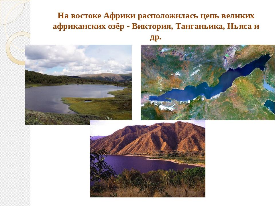 На востоке Африки расположилась цепь великих африканских озёр - Виктория, Тан...