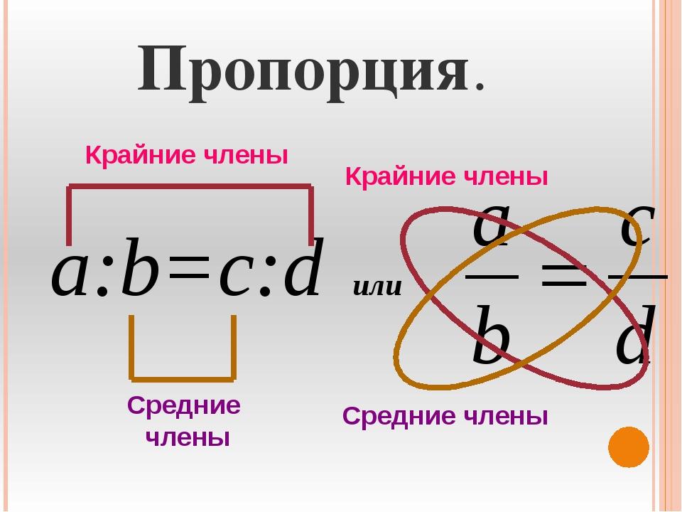 Пропорция. а:b=c:d или Крайние члены Средние члены Крайние члены Средние члены