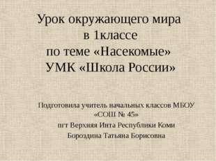 Урок окружающего мира в 1классе по теме «Насекомые» УМК «Школа России» Подгот