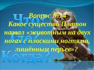 Вопрос №14 Какое существо Платон назвал «животным на двух ногах с плоскими но