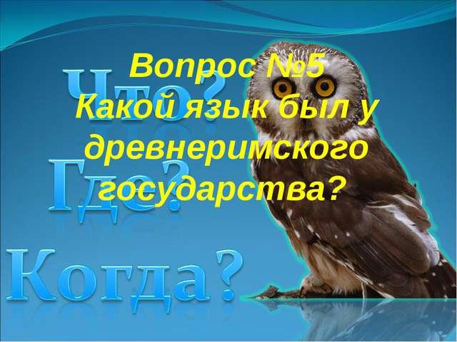 Вопрос №5 Какой язык был у древнеримского государства?