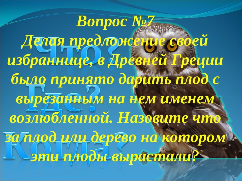 Вопрос №7 Делая предложение своей избраннице, в Древней Греции было принято д...