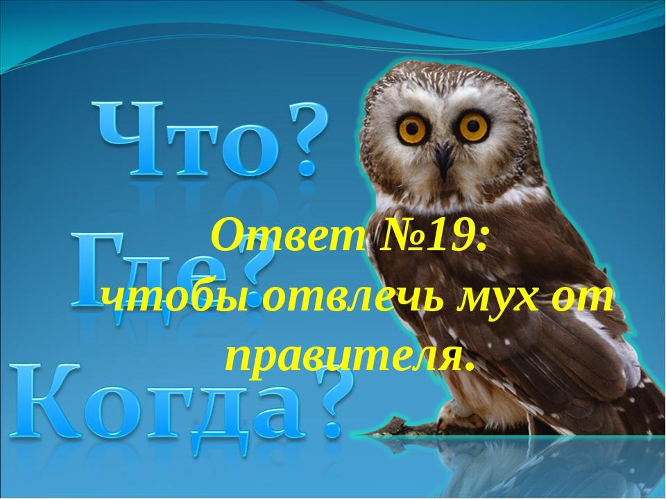 Ответ №19: чтобыотвлечь мух от правителя.