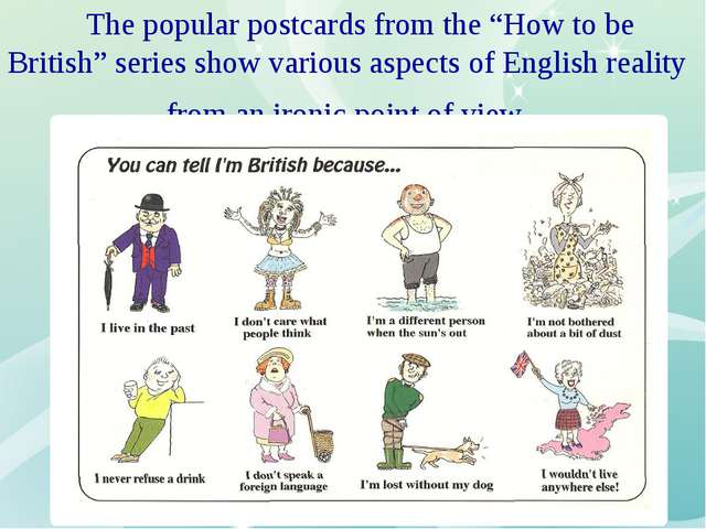 "The popular postcards from the ""How to be British"" series show various aspec..."