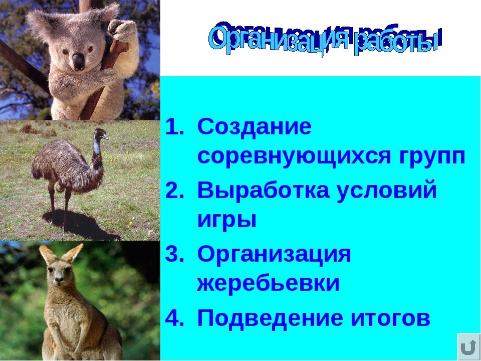 Создание соревнующихся групп Выработка условий игры Организация жеребьевки П...