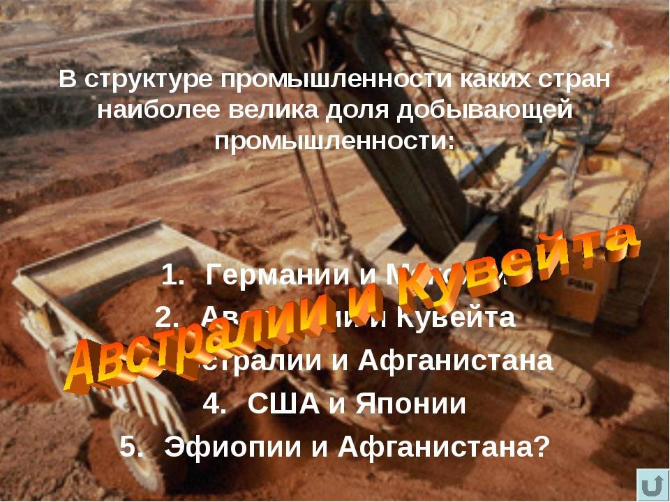В структуре промышленности каких стран наиболее велика доля добывающей промыш...