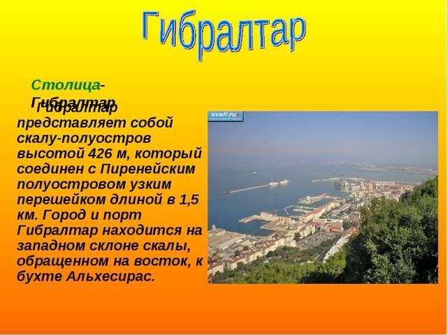 Гибралтар представляет собой скалу-полуостров высотой 426 м, который соедине...