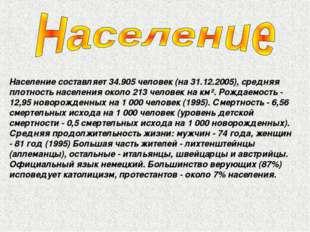 Население составляет 34.905 человек (на 31.12.2005), средняя плотность населе