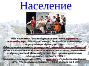 66% населения Люксембурга составляют коренные люксембуржцы. 34% — это немцы,