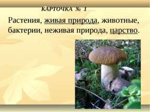 КАРТОЧКА № 1 Растения, живая природа, животные, бактерии, неживая природа, ца
