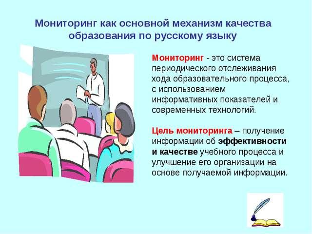 Мониторинг как основной механизм качества образованияпо русскому языку Монит...