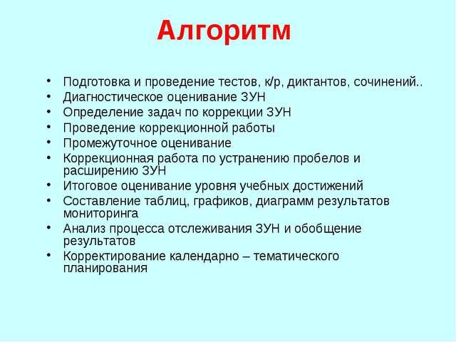 Алгоритм Подготовка и проведение тестов, к/р, диктантов, сочинений.. Диагност...