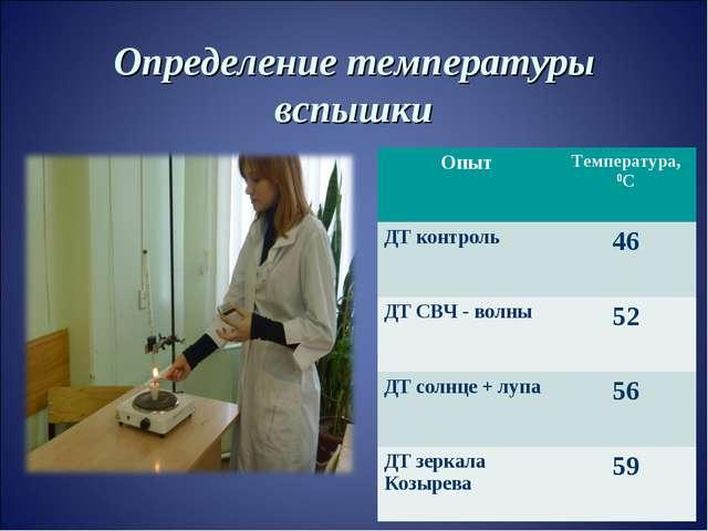 Определение температуры вспышки ОпытТемпература, 0С ДТ контроль46 ДТ СВЧ -...