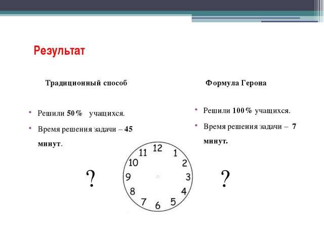 Решили 100% учащихся. Время решения задачи – 7 минут. Результат Традиционный...