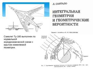 Самолет Ту-160 выполнен по нормальной аэродинамической схеме с крылом изменяе