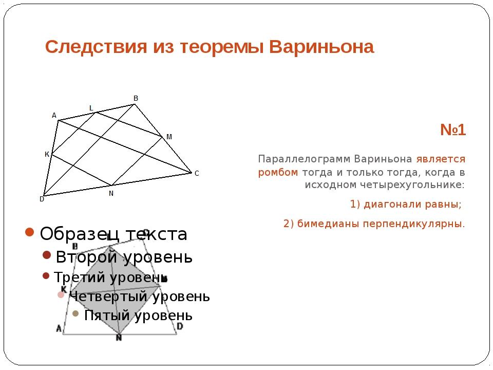 Следствия из теоремы Вариньона №1 Параллелограмм Вариньона является ромбом...